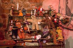 Ritual attributes of voodoo religion. Voodoo dolls and sacrifices Royalty Free Stock Image