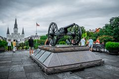 Old artillery cannon at Jackson Square in New Orleans royalty free stock image