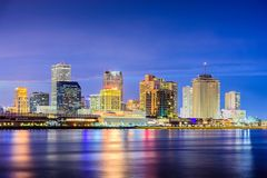 New Orleans, Louisiana, USA. Night skyline on the Mississippi River Stock Photography