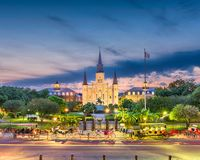 New Orleans, Louisiana, USA Skyline. New Orleans, Louisiana, USA town view at St. Louis Cathedral royalty free stock photography