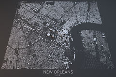New Orleans map, satellite view, United States Stock Photos