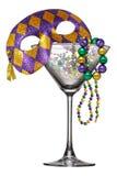 New Orleans Mardi Gras Martini Glass Fotografía de archivo libre de regalías