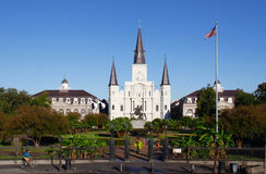 New Orleans Morning at St Louis Cathedral. A bright morning view of beautiful historic St. Louis Cathedral from Jackson Square in the world famous French Quarter Stock Photos