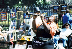 New Orleans musician playing in street 2002 Royalty Free Stock Image
