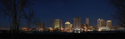 New Orleans at Night. Panorama of New Orleans Skyline at Night Royalty Free Stock Photography