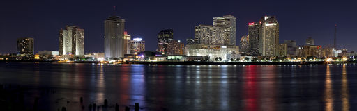 New Orleans Night. Panoramic Downtown New Orleans, Louisiana from the Mississippi River at night Stock Photography