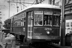 New Orleans noir. New Orleans - Image of street trolley car near the French Quarter Royalty Free Stock Images