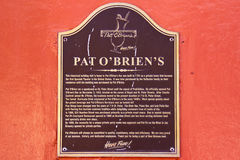 New Orleans Pat OBriens Historic Marker Stock Photo