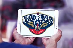 New Orleans Pelicans American basketball team logo. Logo of New Orleans Pelicans team on samsung tablet. The New Orleans Pelicans are an American professional Royalty Free Stock Image