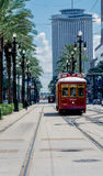 New Orleans Red Trolley Streetcar, Cable car on Canal Street Stock Photo