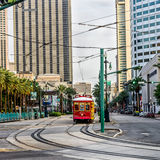 New Orleans RTA Street Car Harrahs. Street Car and buildings in New Orleans LA Royalty Free Stock Photo