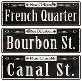 New Orleans Rustic Vintage Street Signs Retro. New Orleans Street Signs Vintage French Quarter Bourbon Street Canal St. Retro Vector Illustration