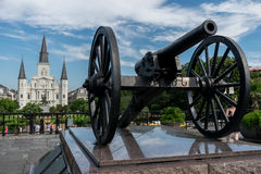 New Orleans Saint Louis Cathedral with Canon. New Orleans French Quarter Saint Louis Cathedral with Canon royalty free stock images