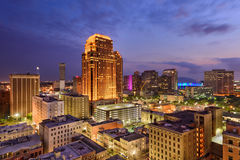 New Orleans Skyline. New Orleans, Louisiana, USA CBD skyline at night stock images