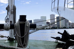 New Orleans Skyline from Mississippi Riverboat Stock Photography
