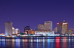 New Orleans skyline reflected in Mississippi River stock image
