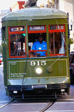 New Orleans St. Charles Street Car. One of the historic green St. Charles Avenue street cars running along the edge of the French Quarter and through the Central Stock Photography