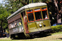 New Orleans St. Charles Street Car 940. One of the historic green St. Charles Avenue street cars in the Garden District running towards downtown New Orleans. It Stock Photo