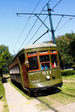 New Orleans St. Charles Street Car Garden District. One of the historic green St. Charles Avenue street cars in the Garden District running towards downtown New royalty free stock photography
