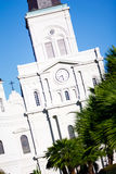 New Orleans St Louis Cathedral Clock Tower. A beautiful morning view of historic St. Louis Cathedral from Jackson Square in the world famous French Quarter of Royalty Free Stock Photo