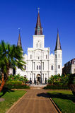 New Orleans St Louis Cathedral Portrait. A beautiful morning view of historic St. Louis Cathedral from Jackson Square in the world famous French Quarter of New Stock Photos