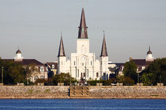 New Orleans St Louis Cathedral from the Water. A beautiful morning view of historic St. Louis Cathedral in the world famous French Quarter of New Orleans Royalty Free Stock Photography