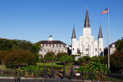New Orleans State Museum St Louis Cathedral 2. A view of beautiful historic St. Louis Cathedral and the Louisana State Museum Cabildo from above Jackson Square Royalty Free Stock Photography
