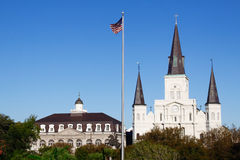 New Orleans State Museum St Louis Cathedral. A view of beautiful historic St. Louis Cathedral and the Louisana State Museum Cabildo from above Jackson Square in Stock Image