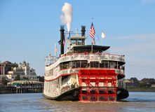 New Orleans Steamboat NATCHEZ, Mississippi River. New Orleans Steamboat Company launched the NATCHEZ in 1975. Its daily two-hour jazz cruises depart from the royalty free stock photo