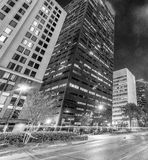 New Orleans street and buildings at night, Louisiana, USA Stock Images