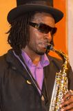 New Orleans street performer plays a Saxophone. Stock Image