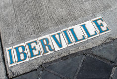 New Orleans Street Sign- Iberville - French Quarter Royalty Free Stock Photo
