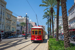 New Orleans Streetcar Line at downtown New Orleans. NEW ORLEANS, USA - AUGUST 25: New Orleans Streetcar Line at downtown New Orleans on August 25, 2015. The New Royalty Free Stock Photos