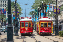 New Orleans Streetcar Line at downtown New Orleans. NEW ORLEANS, USA - AUGUST 25: New Orleans Streetcar Line at downtown New Orleans on August 25, 2015. The New Royalty Free Stock Photo