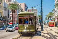 New Orleans Streetcar Line at downtown New Orleans Stock Photo