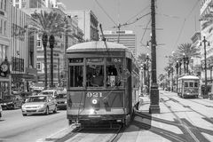 New Orleans Streetcar Line at downtown New Orleans. NEW ORLEANS, USA - AUGUST 25: New Orleans Streetcar Line at downtown New Orleans on August 25, 2015. The New Stock Image