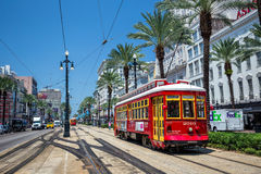 New Orleans Streetcar Line. NEW ORLEANS, USA - AUGUST 25: New Orleans Streetcar Line at downtown New Orleans on August 25, 2015. The New Orleans Streetcar line Royalty Free Stock Photos