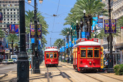 New Orleans Streetcar Line. NEW ORLEANS, USA - AUGUST 25: New Orleans Streetcar Line at downtown New Orleans on August 25, 2015. The New Orleans Streetcar line Stock Images