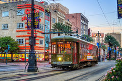 New Orleans Streetcar Line. NEW ORLEANS, USA - AUGUST 22: New Orleans Streetcar Line at downtown New Orleans on August 22, 2015. The New Orleans Streetcar line Stock Image