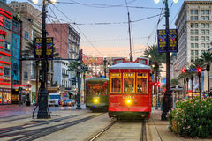 New Orleans Streetcar Line. NEW ORLEANS, USA - AUGUST 22: New Orleans Streetcar Line at downtown New Orleans on August 22, 2015. The New Orleans Streetcar line Royalty Free Stock Photography