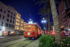 New Orleans Streetcar Line. NEW ORLEANS, USA - AUGUST 22: New Orleans Streetcar Line at downtown New Orleans on August 22, 2015. The New Orleans Streetcar line Stock Photo