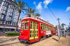 New Orleans Streetcar. NEW ORLEANS, LOUISIANA - MAY 10, 2016: A streetcar in downtown New Orleans on Canal Street. Streetcars have been an integral part of New Royalty Free Stock Photos