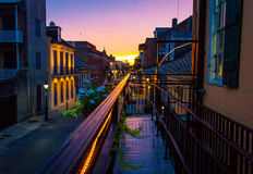 New Orleans sunset. Sunset seen from balcony in French Quarter of New Orleans, Louisiana, USA Royalty Free Stock Photo