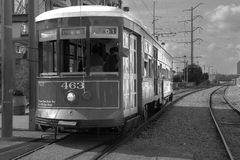 New Orleans train trolley. New Orleans, USA - April 22, 2011: Image of a train trolley photographed in Black and white the French Quarter in  New Orleans Royalty Free Stock Images