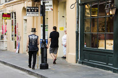 New Orleans, USA - July 13, 2015: Pedestrians walking on Royal Street of New Orleans, Louisiana near French Quarter. Royalty Free Stock Photo