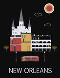 New Orleans. USA. New Orleans. Louisiana. USA. Stylithed illustration on the black background. Vector Stock Photo