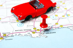 New Orleans  USA map car Stock Photos