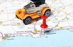 New Orleans  USA map retro car Royalty Free Stock Photo