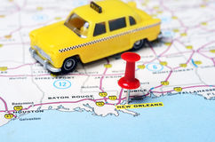 New Orleans  USA map taxi Royalty Free Stock Photo