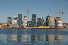 New Oslo Skyline under construction. Oslo skyline by the waterfront stock image